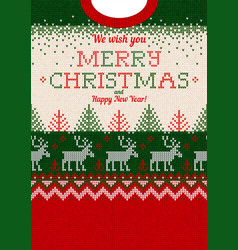 ugly sweater merry christmas greeting card vector image