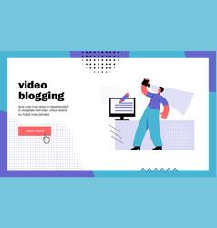 video blogging website landing page vector image
