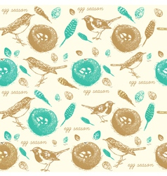 Vintage Sparrow Nest Pattern vector