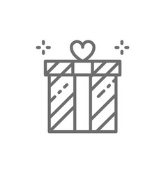 Wedding gift giftbox present surprise line icon vector