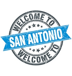 Welcome to San Antonio blue round vintage stamp vector