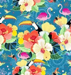 bright seamless tropical pattern with flowers vector image vector image
