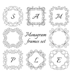 8 monogram frames retro style set hand drawn vector