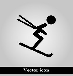 downhill skiing icon thin line for web and mobile vector image
