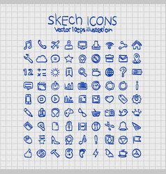 exercise book sketch of hand drawn icons vector image