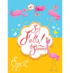 flamingo card 2 380 vector image vector image