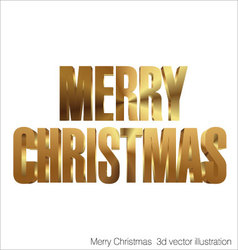 Merry Christmas 3d golden text vector image vector image