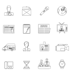 News icons set outline vector image vector image
