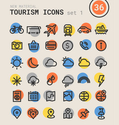 tourism bold linear icons vector image vector image