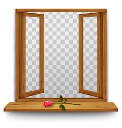 Wooden window with a red rose on the windowsill vector image vector image