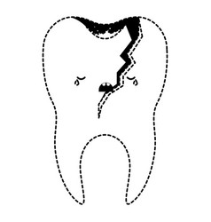Broken kawaii tooth with root in black dotted vector