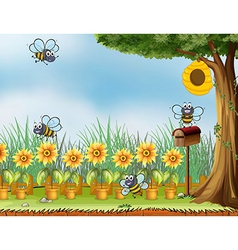 Four bees in the garden vector image vector image