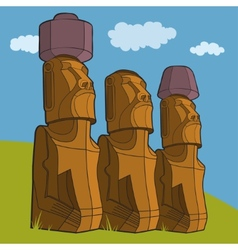 Sculptures of Easter island Rapa Nui vector image