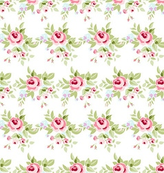 Seamless floral pattern with pink roses vector image