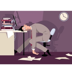 Tired man at work vector image vector image
