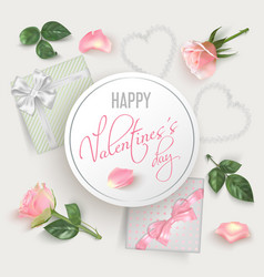 valentines day card with pink roses vector image vector image