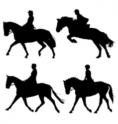 horse and riders vector image