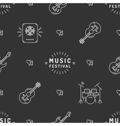 Music seamless pattern Rock festival minimal vector image