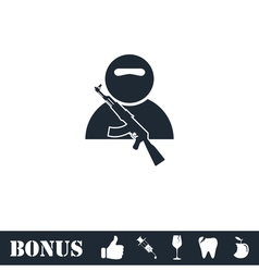 Soldier icon flat vector image vector image