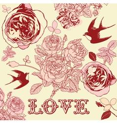 Vintage Floral Love Pattern Background vector image vector image