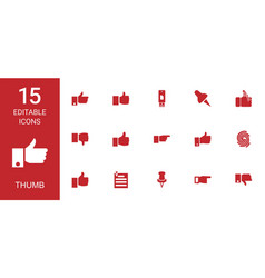 15 thumb icons vector image