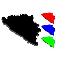 3d map of bosnia and herzegovina vector image