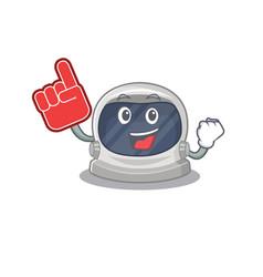 Astronaut helmet presented with foam finger vector