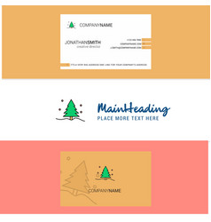 beautiful christmas tree logo and business card vector image