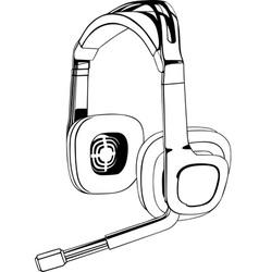 black and white headphones vector image