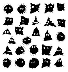 Black funny monsters ink blots isolated set vector
