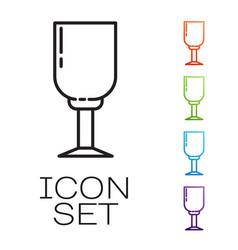 Black line wine glass icon isolated on white vector
