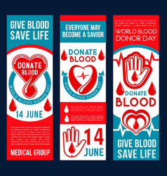 Blood donation banners vector