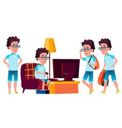 boy schoolboy kid poses set high school vector image