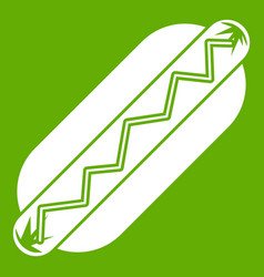 bun and sausage icon green vector image