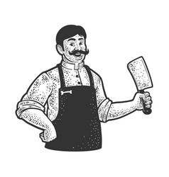 Butcher line art sketch vector