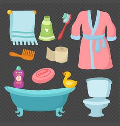 Cartoon bathroom accessories set vocabulary vector