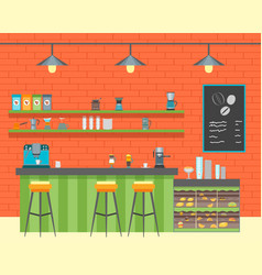 Cartoon coffee shop design interior vector