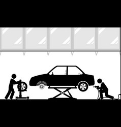 changing tires in modern workshop vector image