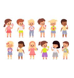 children eat sweet food cute kids vector image