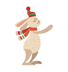 Christmas rabbit animal funny character with hat vector