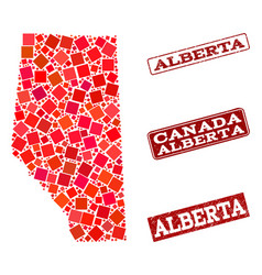 Collage of red mosaic map of alberta province and vector