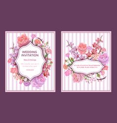 Colorful wedding invitation cards vector