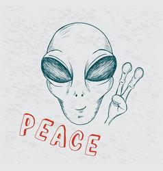 cool alien show symbol peace vector image