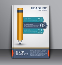 cover template with pencil and ribbon vector image