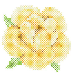 Cross stitch yellow rose vector