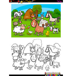cute farm animals characters group color book vector image