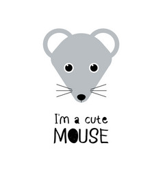 cute mouse cartoon animal face funny vector image