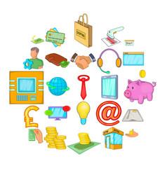 debt icons set cartoon style vector image