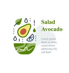 Delicious avocado salad simple recipe vector