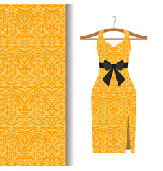 dress fabric with yellow arabic pattern vector image